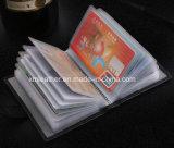 Carpeta de la tarjeta de crédito de cuero negra del sostenedor para los hombres