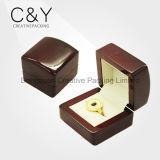 Caixa de anel de jóias de madeira antiga para anel de casamento