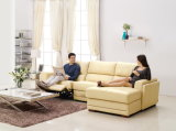 베이지색과 Yellow Voice Box Recliner Corner Sofa