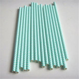Striped Chevron Green 100% Eco-Friendly Paper Straw