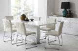 Tabela de jantar superior de madeira moderna bonita simples do quadrado branco com pé do aço inoxidável (NK-DT001)