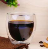 LFGB, FDA, SGS de Dubbele Kop van het Glas van de Kop van de Koffie van de Muur met het Deksel van het Bamboe