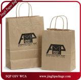 Sacs réutilisés de cadeau de transporteur de sacs de cadeau d'Euro-Clients de cannelure de Papier d'emballage avec le traitement Twisted ou le traitement plat