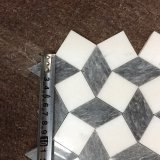 بلّوريّة أبيض ورماديّ رخام [3د] تصميم فسيفساء لأنّ زخرفة بيتيّ