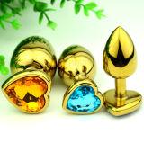 金ハート形のステンレス鋼の水晶宝石類の肛門のバットプラグの性は小型の28mm x 70mm GS0312をもてあそぶ