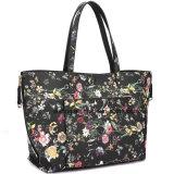Saco de compra reversível floral do Satchel do plutônio da impressão do saco de Tote das mulheres