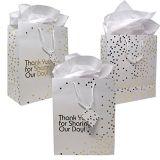 결혼 선물 부대, 선물 부대, 쇼핑 백이 결혼 선물 부대에 의하여, 금속 금 점을 찍는다