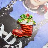 Carregadores vermelhos do Natal do esmalte dos Brooches dos presentes do Natal com Brooches do Rhinestone