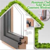 Ventana de madera revestida de aluminio para la casa de gama alta, ventana de aluminio de madera del marco de la alta calidad de la teca de clase superior