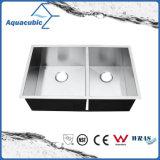 De kunstmatige Gootsteen van de Keuken van de Kom van het Roestvrij staal Dubbele (ACS3320S)