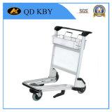 Carrello del bagaglio del passeggero del carrello del carrello dell'aeroporto con il freno