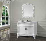 Vanité traditionnelle de salle de bains en bois 2017 solide avec le dessus de marbre fixé au sol Asv1010 de bassin simple de récipient