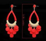 De Juwelen Elegante POM van de manier met de BontScheur van de Bal bengelen Oorringen 2 van de Daling het Zwarte Rood van Kleuren