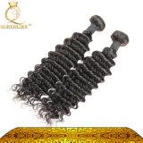 Enroulement serré d'usine de couleur normale directe chinoise de l'approvisionnement #1b tissant le cheveu ondulé bouclé malaisien de cheveux humains