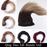 Precio de calidad superior del grado 8A Factoy 200 gramos de Ombre de clip del color en ser humano de la extensión del pelo