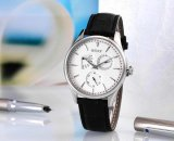 Stainless Steel Day Date Montre Homme Analogique avec bande en cuir