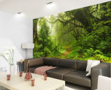 Maschera autoadesiva della carta da parati della foto della foresta dei murali della parete di paesaggio della natura per il salone