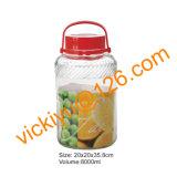 8L赤いプラスチックふたが付いている大きい果実酒のガラス瓶
