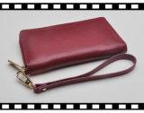 RFID Blocking Functional Soft Leather Lady Wrist Wallet com caixa fechada