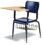 Hzpc063 derechos Mueven de un tirón-para arriba la silla ergonómica azul del plástico del shell del brazo de la tablilla