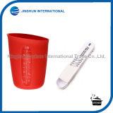 tazza di misurazione del silicone 2PCS e cucchiai registrabili impostati