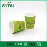 Оптовым устранимым изготовленный на заказ напечатанный логосом бумажный стаканчик стены пульсации для горячего кофеего