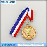 La médaille faite sur commande en métal de Metallion de badminton de récompense de sports invente le souvenir