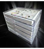 Caixa de indicador acrílica da jóia com 5 gavetas e bandejas de veludo