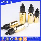 Frasco de vidro dourado do conta-gotas do petróleo essencial com o tampão de revestimento UV de Chilfproof