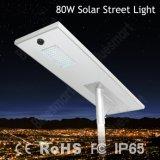 Bluesmart a intégré le réverbère solaire de 80W DEL avec le panneau solaire de batterie