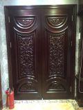 Puerta doble de madera sólida con la talla del lujo (DS-810)