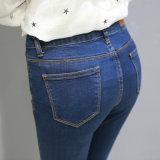2017 jeans blu scuro delle signore del denim dell'indumento caldo delle donne