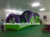スポーツのための緑および紫色の膨脹可能な障害物コース