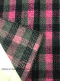 Stock пинк ткани шерстей проверки & черная шерстяная ткань