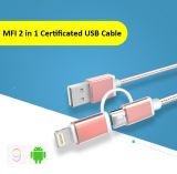 Heiße Verkaufs-Telefon-Zubehör 2 in 1 Metallnylon USB-aufladenkabel für Samsung, iPhone