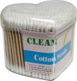 300PCS plástico descartável vara não-branqueada 100% do bebê cotonetes