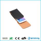Caisse en cuir lustrée verticale de téléphone de poche d'étui de clip ceinture