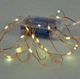 정원 훈장 구리 철사 LED 배터리 전원을 사용하는 요전같은 끈 밝은 노란색 Mardi 잔디 빛