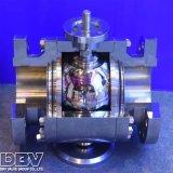 Válvula de bola flotante asentada del metal de la brida industrial 3pcs Ss304