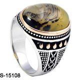 De Zilveren Ringen van de Mensen van Hotsale van de fabriek met Steen Turquois