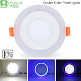 3 Modelo redondo azul 6W + ahuecado blanco del color del doble del panel del LED