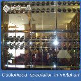 Hotsaleのステンレス鋼のヘアラインローズの金のワインの表示棚かラック