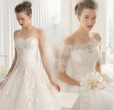 Роскошь с Sequin плеча Appliqued плиссированное платье венчания длины пола с отделяемыми втулками