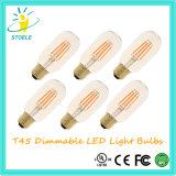 Bulbos al por mayor mencionados del nostálgico de la UL Dimmable LED de Stoele T45