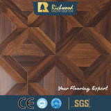 Plancher bordé de stratifié ciré par noix en bois de teck de texture de fibre de bois de planche de vinyle
