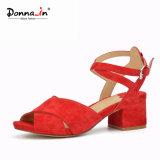 (Donna-in) sandali robusti delle donne della cinghia della caviglia del tallone della pelle scamosciata del capretto di modo