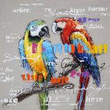 Pittura a olio astratta variopinta per gli uccelli