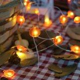 La chaîne de caractères imperméable à l'eau du câblage cuivre DEL de potiron allume Noël décoratif blanc chaud de corde de 50FT