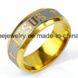 Anello dei monili degli uomini Diamante-Fissato oro e delle donne dell'acciaio inossidabile (CZR2572)