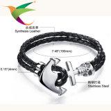 Stlb-17011013 tejido de cuero pulsera de acero inoxidable masónico joyería